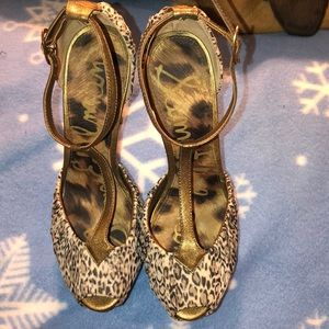 Sam Edelman leopard and gold platform heels 7.5